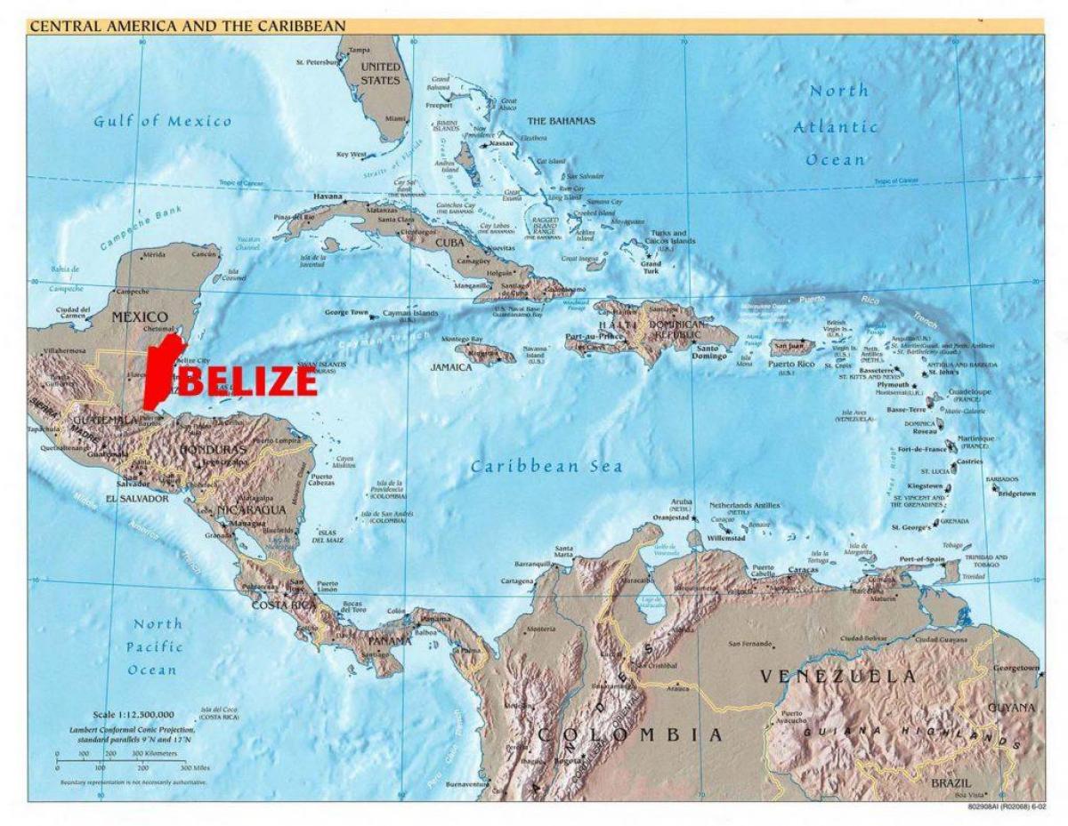 Belize Harta America Centrală Harta De Belize America Centrală